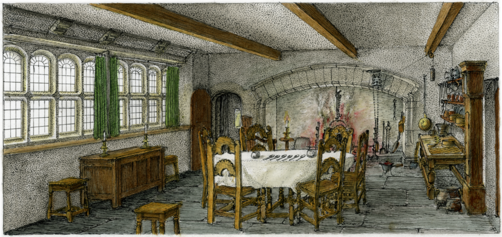 Drawing of The Folly's kitchen as it may have looked in 1679
