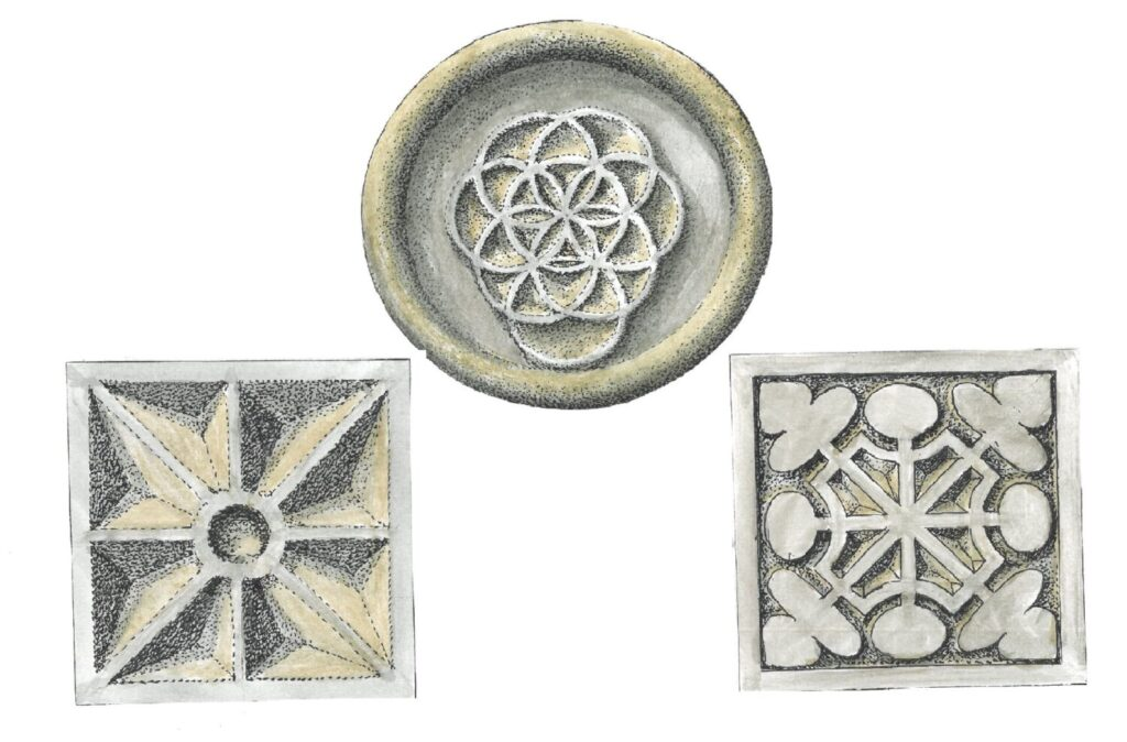 Three drawings of stonecarvings