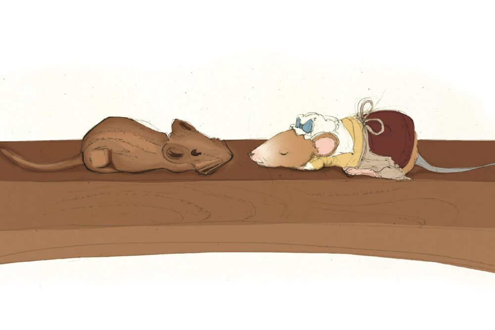 A drawing of a mouse wearing a dress and cap nose to nose with a carved wooden mouse
