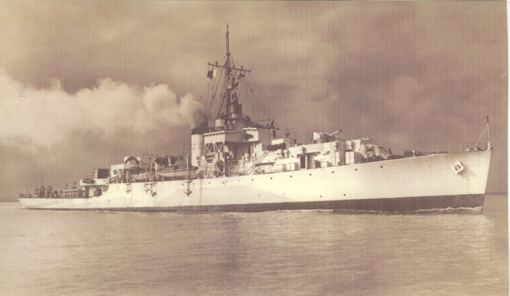 Black and sepia photo of a navy ship