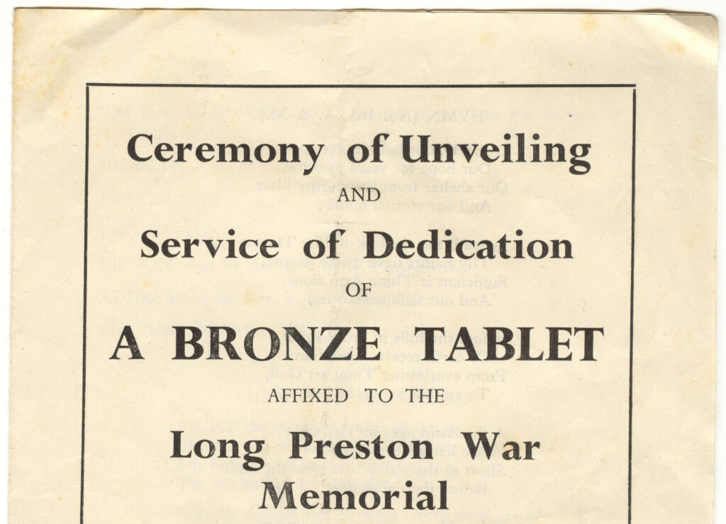Poster advertising the Long Preston War Memorial having a new plaque attached