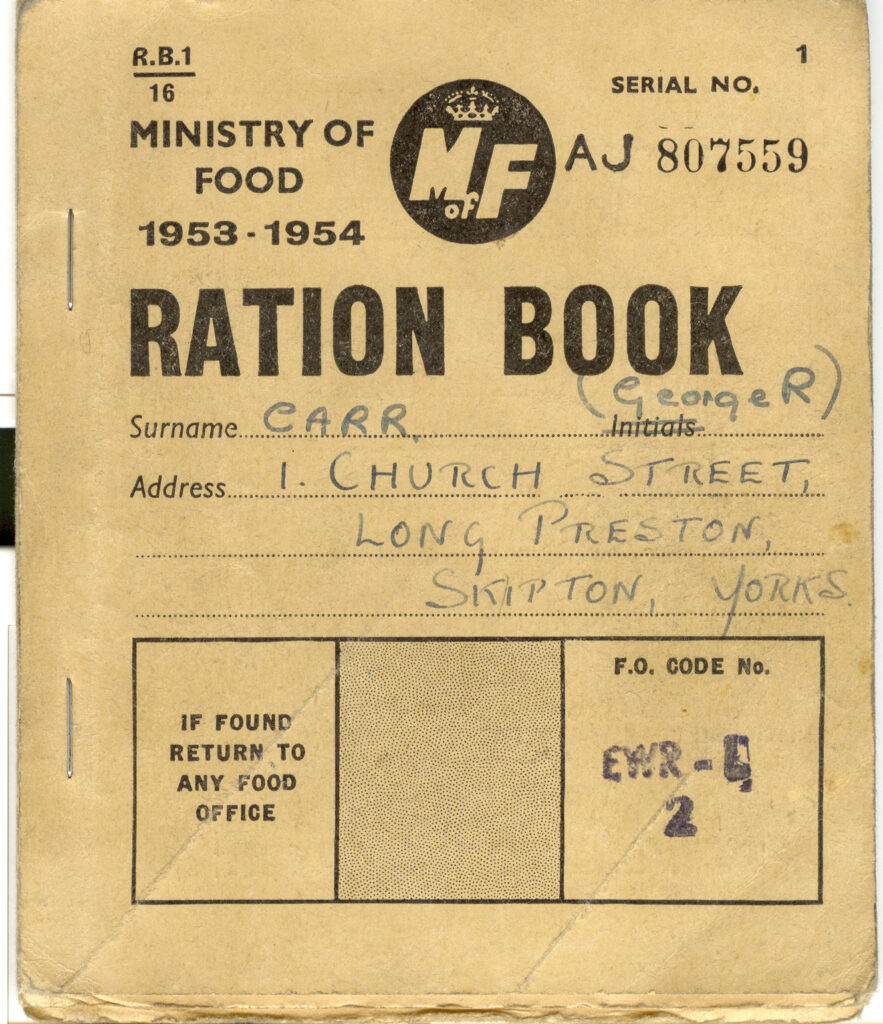 A 11953-1954 ration book for George Carr of Long Preston