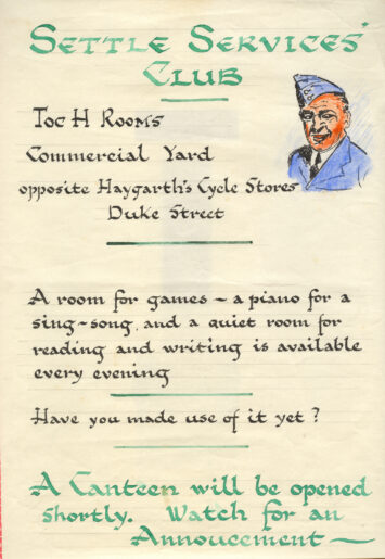 Hand drawn poster advertising Settle Services Club