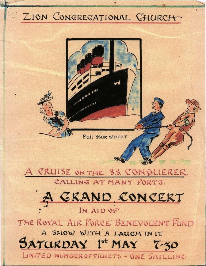 """A hand drawn fundraising poster advertising """"A Grand Concert in Aid of the Royal Air Force Benevolent Fund"""""""