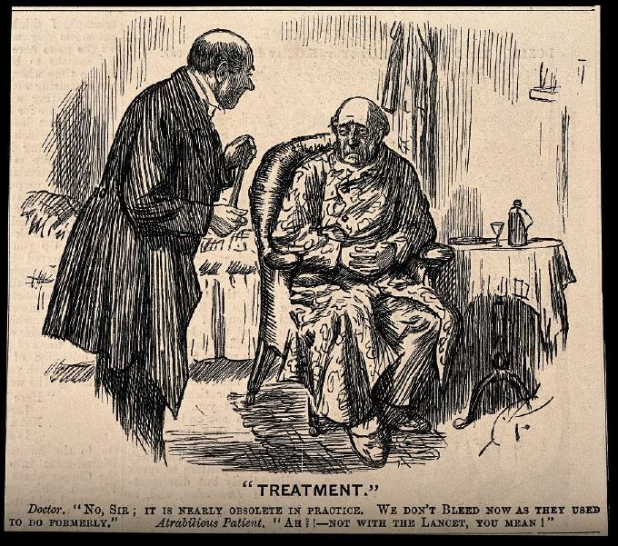 """An etching of a cartoon of a doctor and patient. It is captioned """"No sir, we hardly ever bleed at all"""" """"Ah! You mean not with a lancet!"""""""
