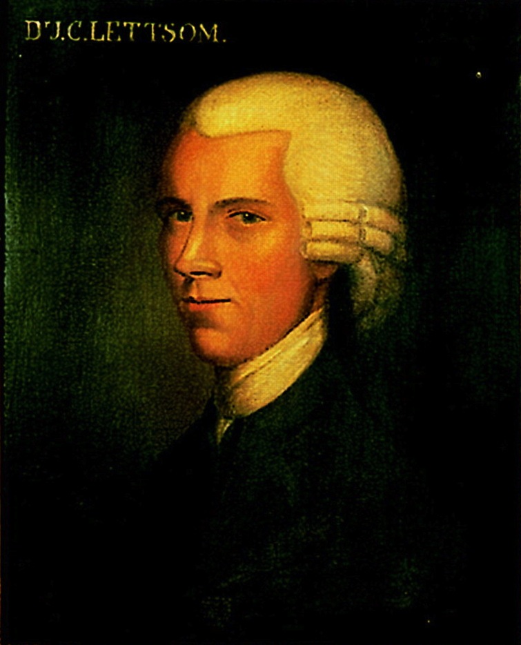 Painting of a white man on a green background. He wears a dark jacket, white cravat and white wig