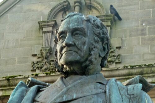 Statue of Sir Mathew Wilson in front of Skipton Library