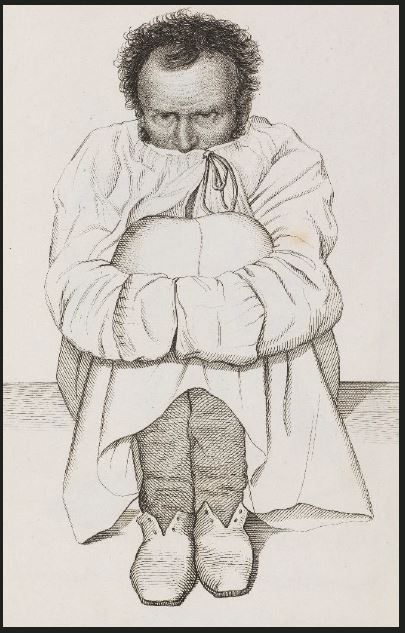 Etching of a man in a straightjacket