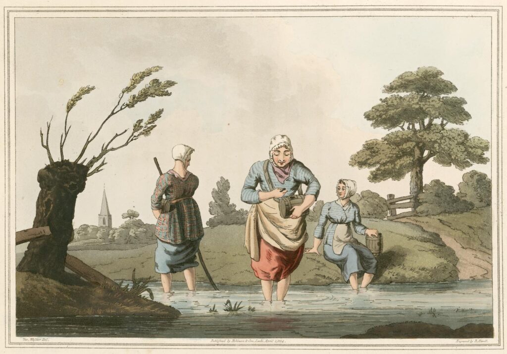 Coloured drawing of three women standing in a river, collecting leeches