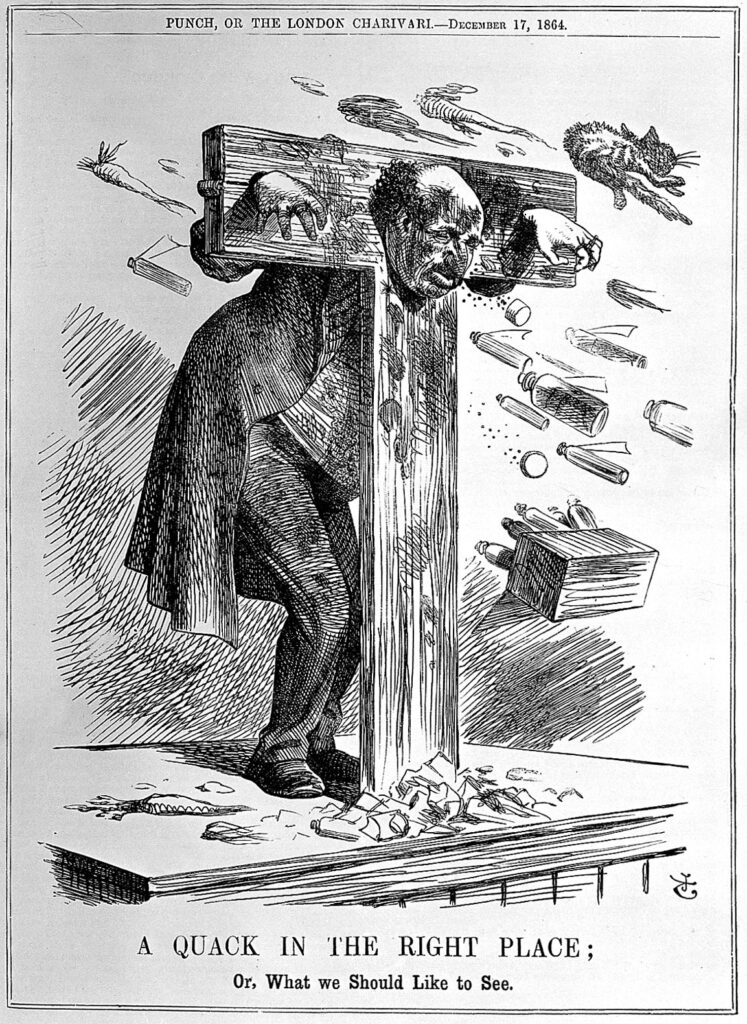"""Etching of a man in pillory. The caption reads """"A quack in the right place, or what we would like to see""""."""